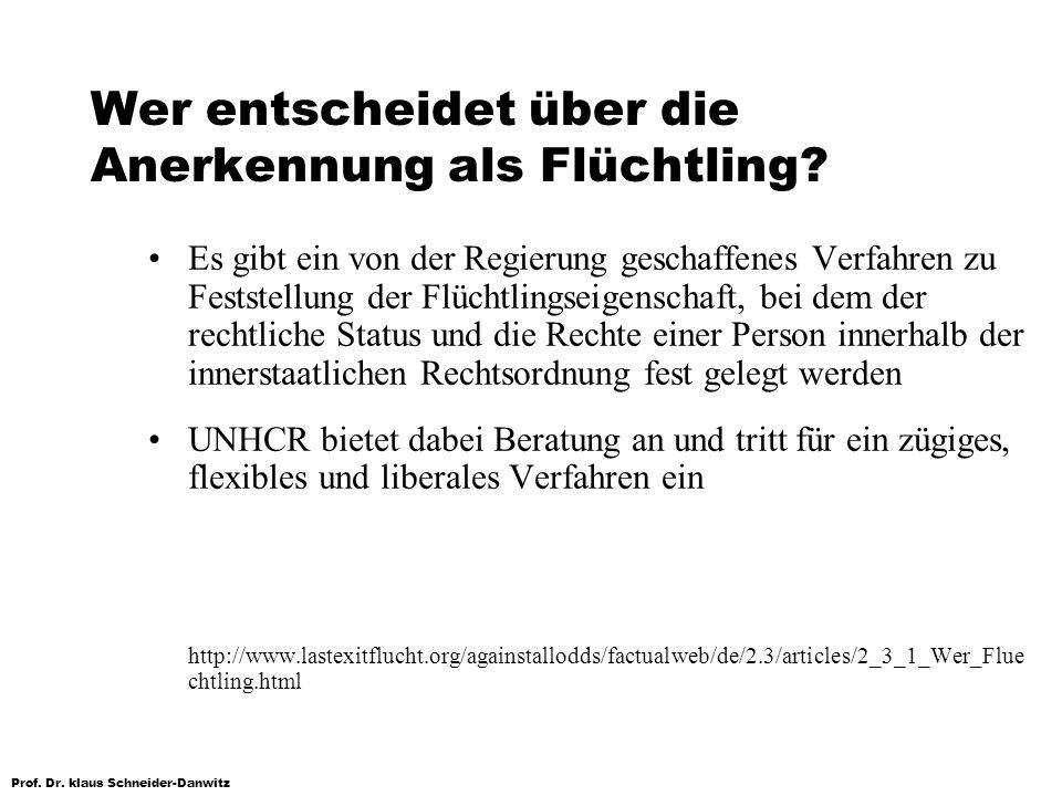 Prof. Dr. klaus Schneider-Danwitz Wer entscheidet über die Anerkennung als Flüchtling? Es gibt ein von der Regierung geschaffenes Verfahren zu Festste