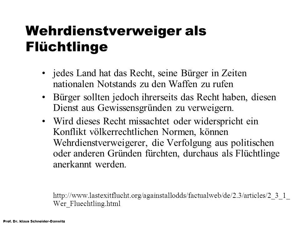Prof. Dr. klaus Schneider-Danwitz Wehrdienstverweiger als Flüchtlinge jedes Land hat das Recht, seine Bürger in Zeiten nationalen Notstands zu den Waf