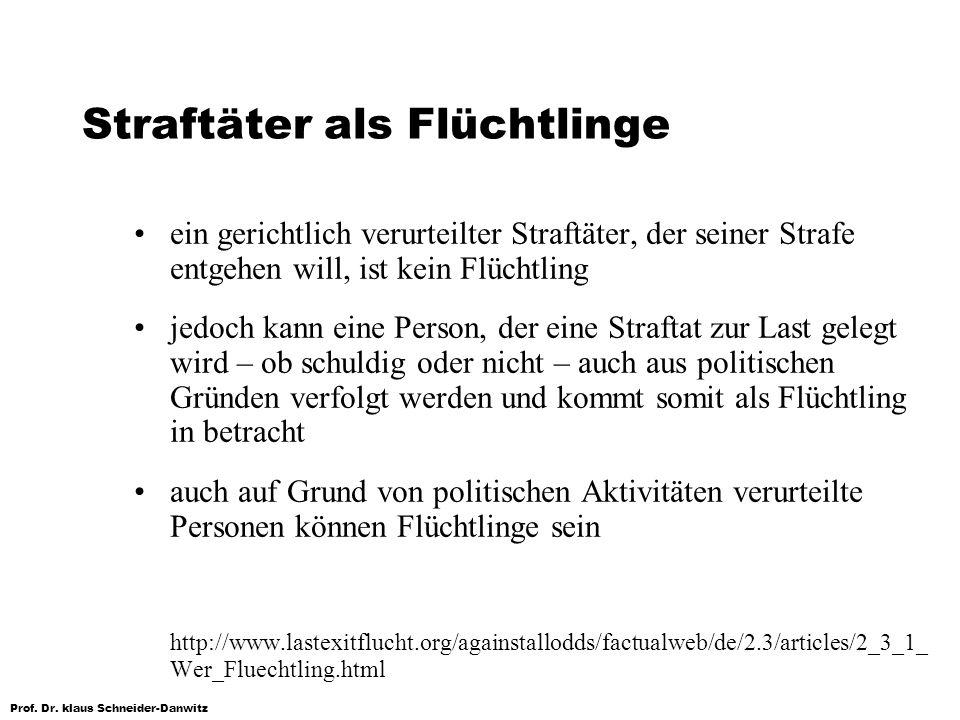 Prof. Dr. klaus Schneider-Danwitz Straftäter als Flüchtlinge ein gerichtlich verurteilter Straftäter, der seiner Strafe entgehen will, ist kein Flücht