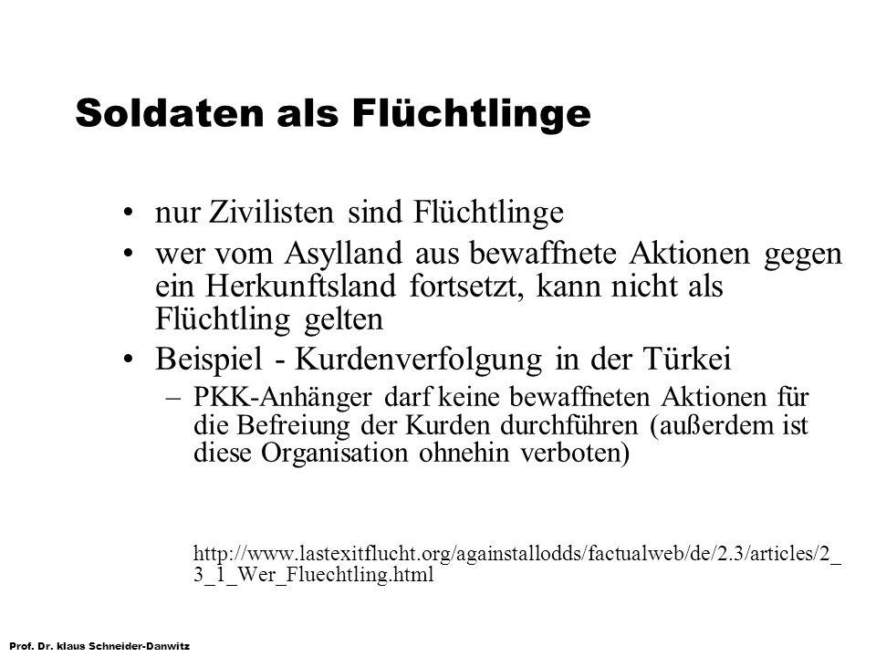 Prof. Dr. klaus Schneider-Danwitz Soldaten als Flüchtlinge nur Zivilisten sind Flüchtlinge wer vom Asylland aus bewaffnete Aktionen gegen ein Herkunft