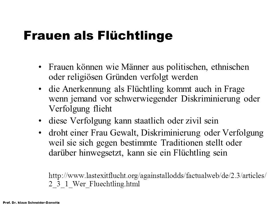 Prof. Dr. klaus Schneider-Danwitz Frauen als Flüchtlinge Frauen können wie Männer aus politischen, ethnischen oder religiösen Gründen verfolgt werden