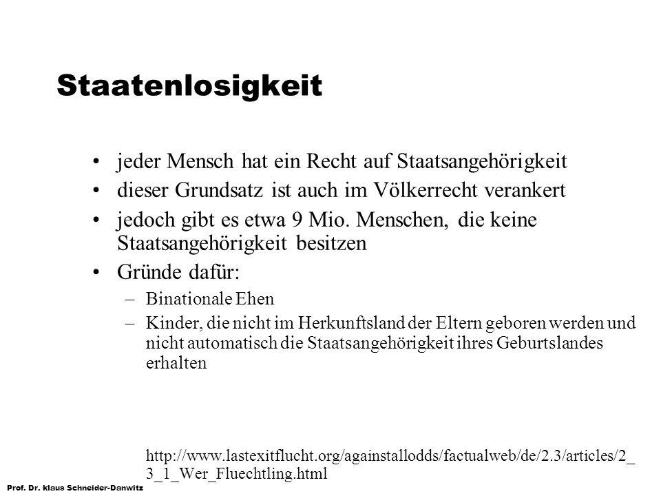 Prof. Dr. klaus Schneider-Danwitz Staatenlosigkeit jeder Mensch hat ein Recht auf Staatsangehörigkeit dieser Grundsatz ist auch im Völkerrecht veranke