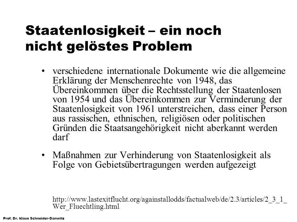 Prof. Dr. klaus Schneider-Danwitz Staatenlosigkeit – ein noch nicht gelöstes Problem verschiedene internationale Dokumente wie die allgemeine Erklärun