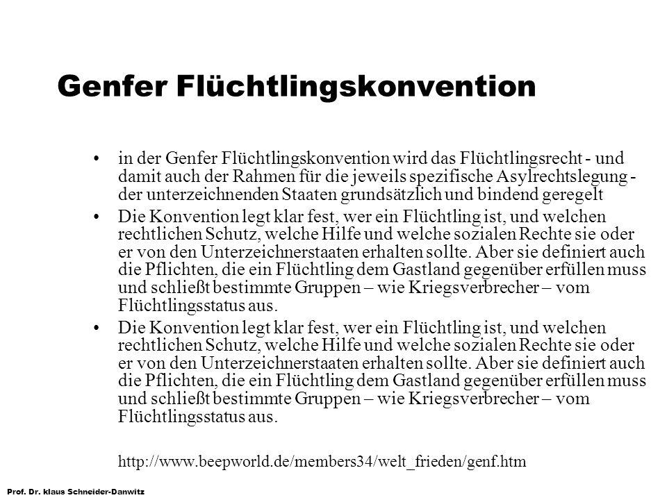 Prof. Dr. klaus Schneider-Danwitz Genfer Flüchtlingskonvention in der Genfer Flüchtlingskonvention wird das Flüchtlingsrecht - und damit auch der Rahm