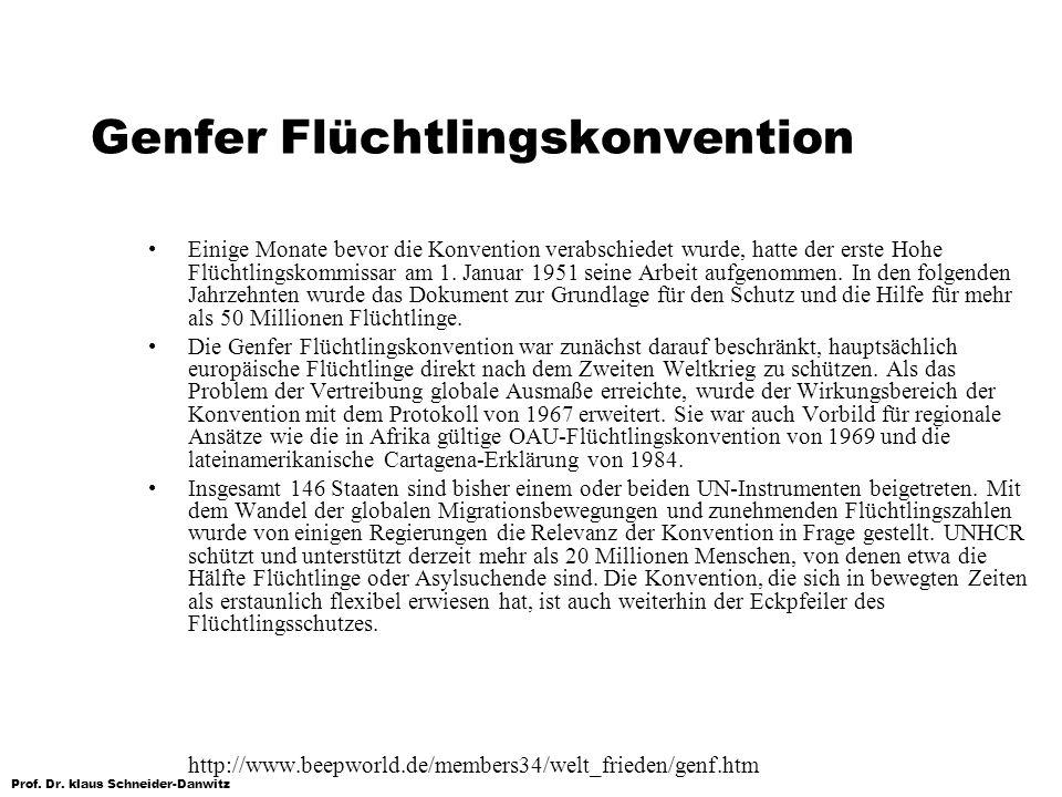 Prof. Dr. klaus Schneider-Danwitz Genfer Flüchtlingskonvention Einige Monate bevor die Konvention verabschiedet wurde, hatte der erste Hohe Flüchtling