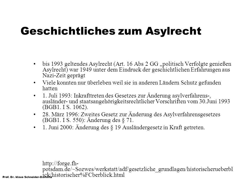 Prof. Dr. klaus Schneider-Danwitz Geschichtliches zum Asylrecht bis 1993 geltendes Asylrecht (Art. 16 Abs 2 GG politisch Verfolgte genießen Asylrecht)