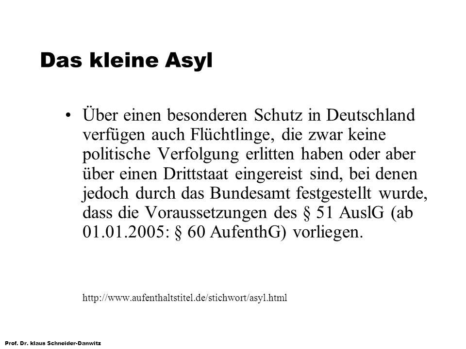 Prof. Dr. klaus Schneider-Danwitz Das kleine Asyl Über einen besonderen Schutz in Deutschland verfügen auch Flüchtlinge, die zwar keine politische Ver