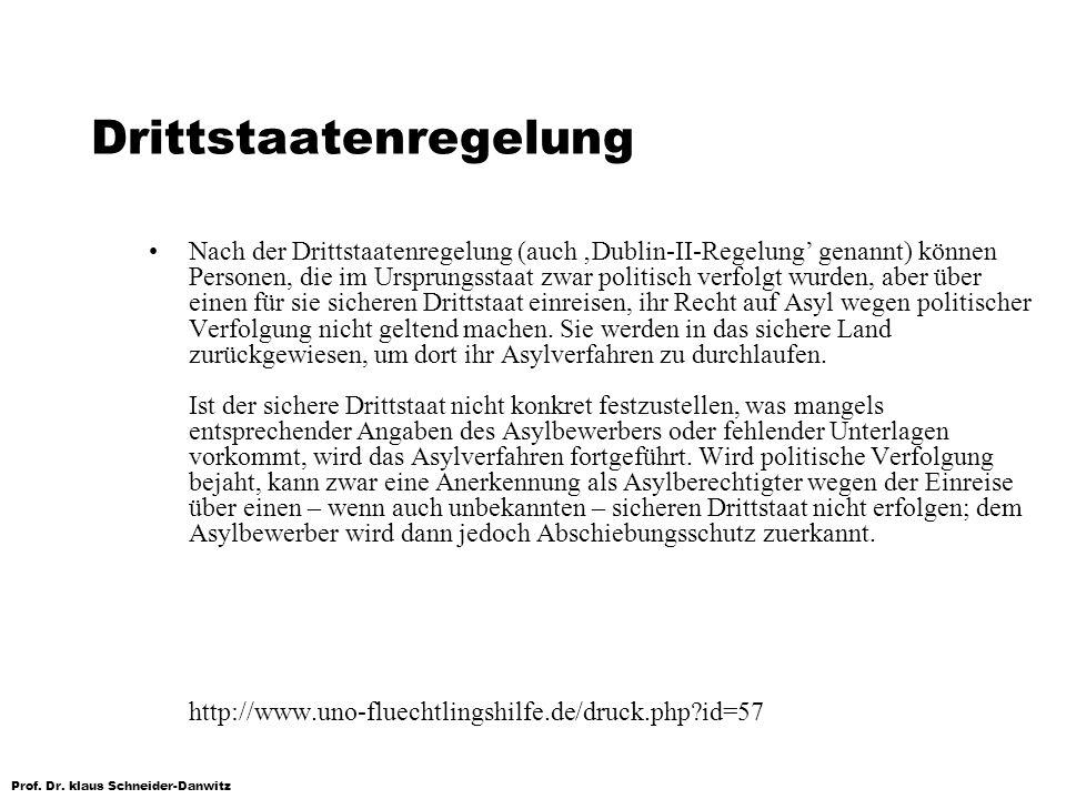 Prof. Dr. klaus Schneider-Danwitz Drittstaatenregelung Nach der Drittstaatenregelung (auch Dublin-II-Regelung genannt) können Personen, die im Ursprun