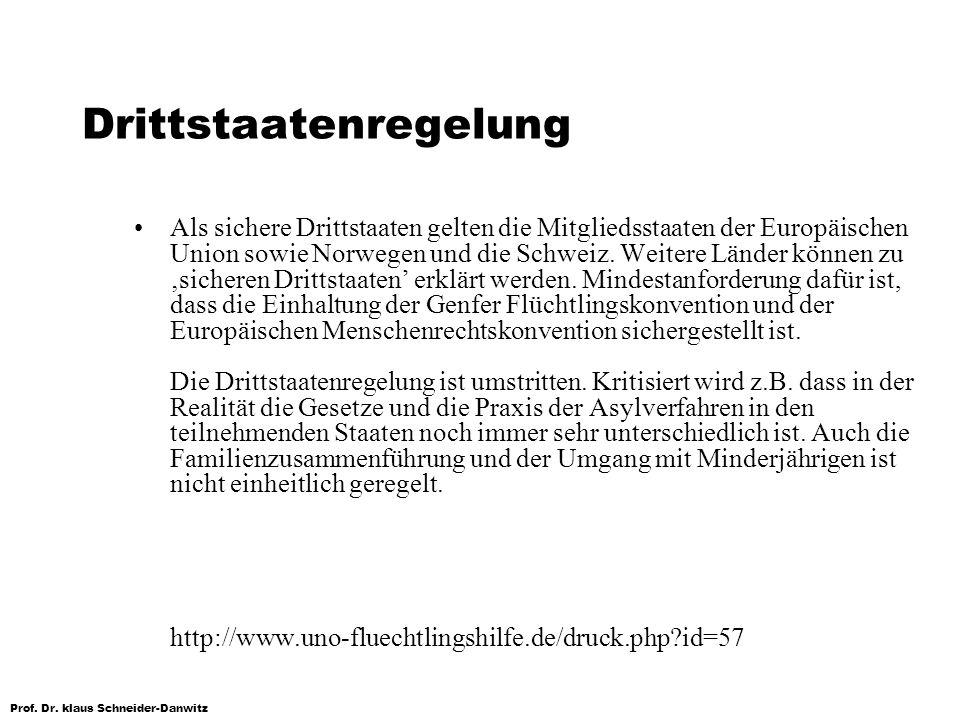 Prof. Dr. klaus Schneider-Danwitz Drittstaatenregelung Als sichere Drittstaaten gelten die Mitgliedsstaaten der Europäischen Union sowie Norwegen und