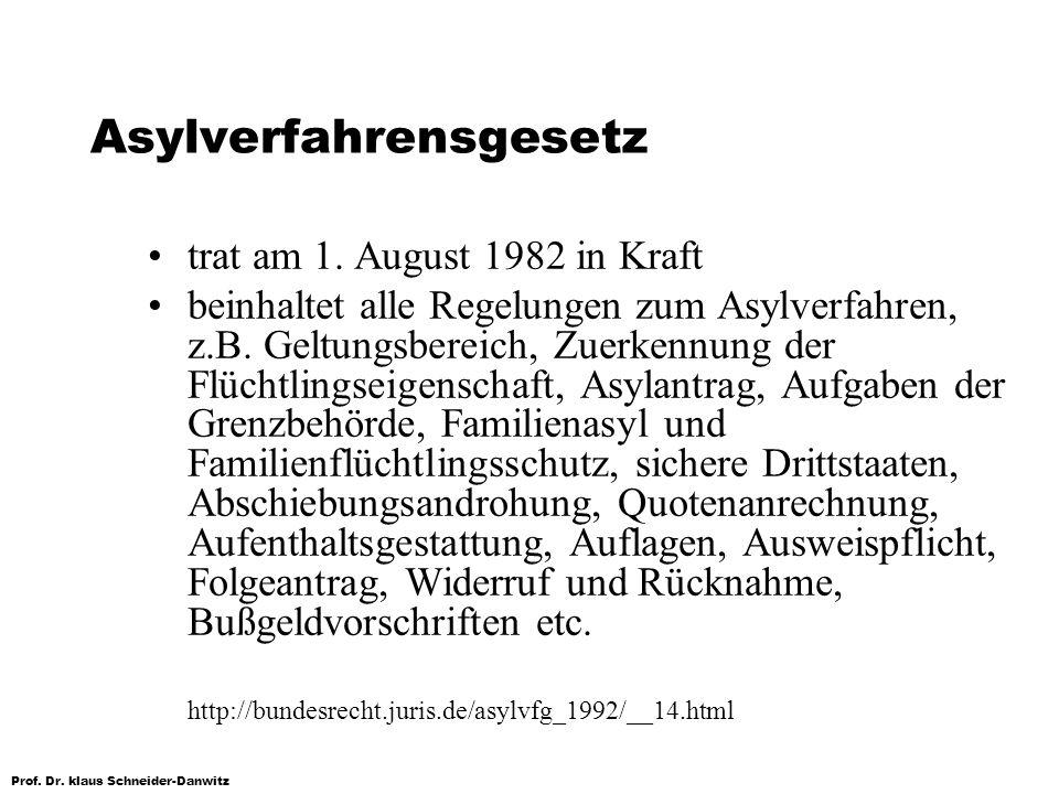 Prof. Dr. klaus Schneider-Danwitz Asylverfahrensgesetz trat am 1. August 1982 in Kraft beinhaltet alle Regelungen zum Asylverfahren, z.B. Geltungsbere