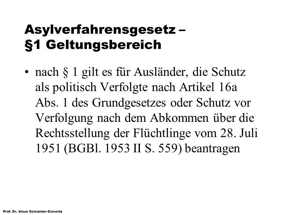 Prof. Dr. klaus Schneider-Danwitz Asylverfahrensgesetz – §1 Geltungsbereich nach § 1 gilt es für Ausländer, die Schutz als politisch Verfolgte nach Ar