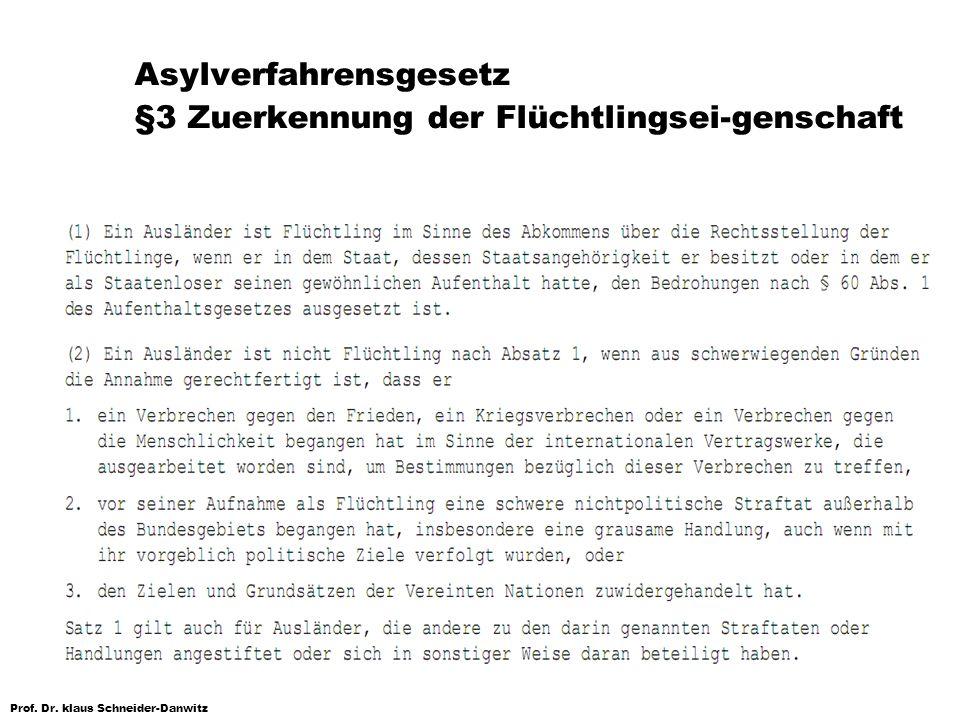 Prof. Dr. klaus Schneider-Danwitz Asylverfahrensgesetz §3 Zuerkennung der Flüchtlingsei-genschaft