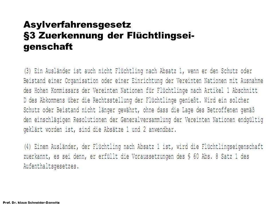 Prof. Dr. klaus Schneider-Danwitz Asylverfahrensgesetz §3 Zuerkennung der Flüchtlingsei- genschaft