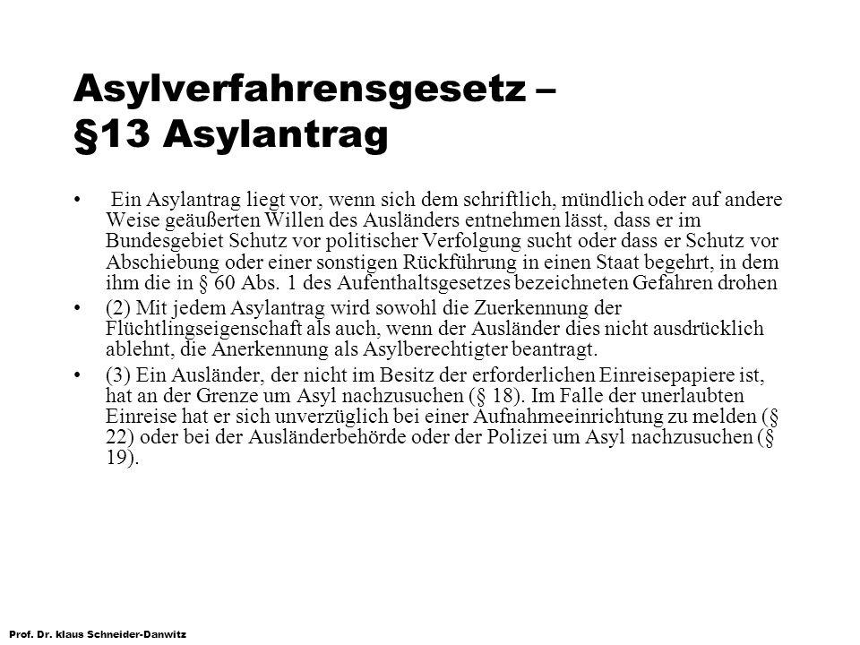 Prof. Dr. klaus Schneider-Danwitz Asylverfahrensgesetz – §13 Asylantrag Ein Asylantrag liegt vor, wenn sich dem schriftlich, mündlich oder auf andere