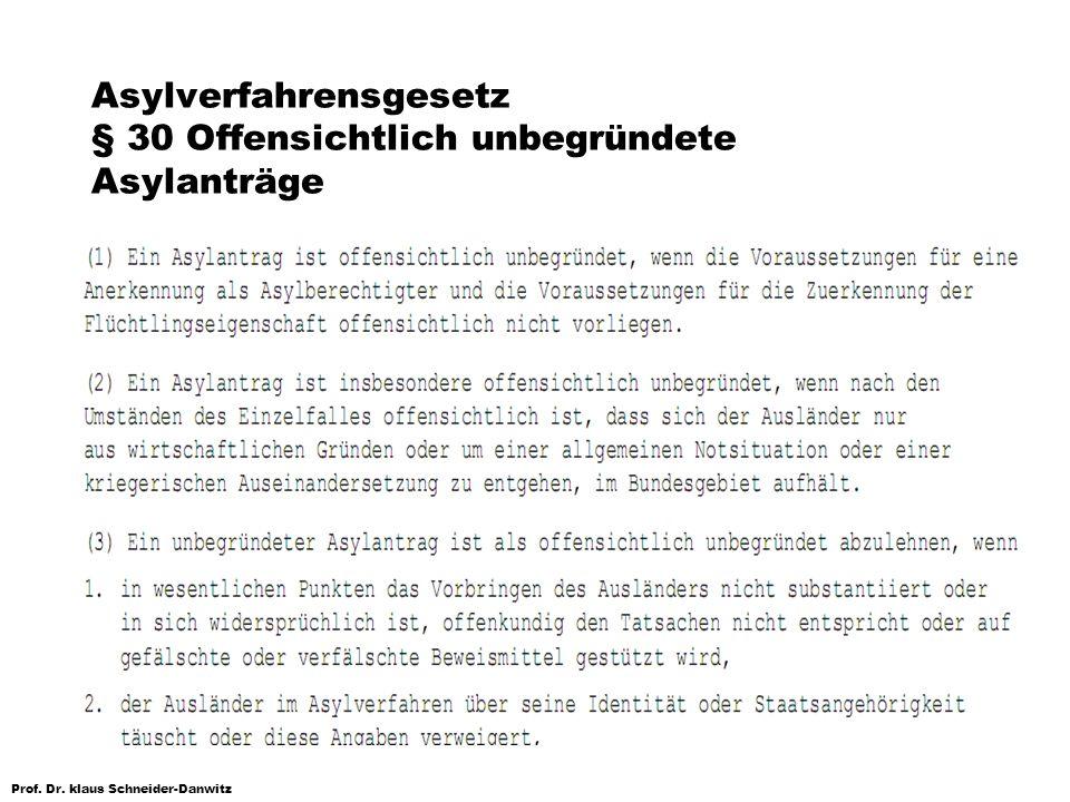 Prof. Dr. klaus Schneider-Danwitz Asylverfahrensgesetz § 30 Offensichtlich unbegründete Asylanträge