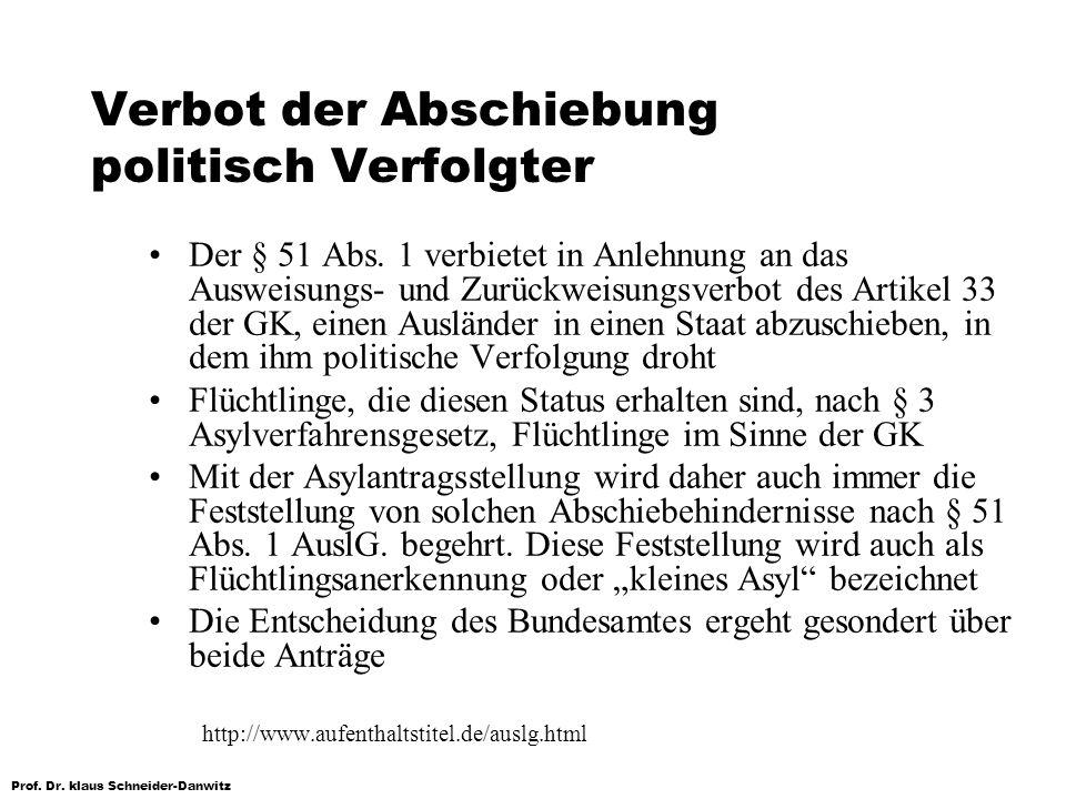 Prof. Dr. klaus Schneider-Danwitz Verbot der Abschiebung politisch Verfolgter Der § 51 Abs. 1 verbietet in Anlehnung an das Ausweisungs- und Zurückwei