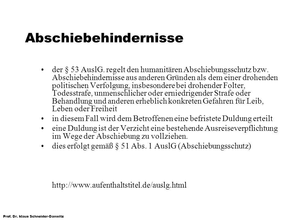 Prof. Dr. klaus Schneider-Danwitz Abschiebehindernisse der § 53 AuslG. regelt den humanitären Abschiebungsschutz bzw. Abschiebehindernisse aus anderen