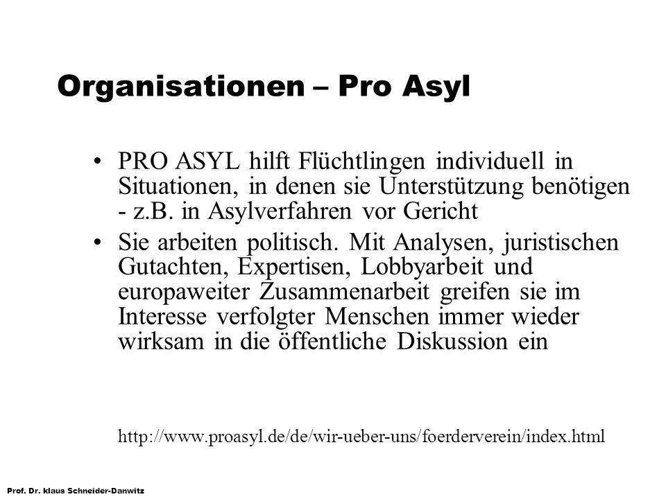 Prof. Dr. klaus Schneider-Danwitz Organisationen – Pro Asyl PRO ASYL hilft Flüchtlingen individuell in Situationen, in denen sie Unterstützung benötig