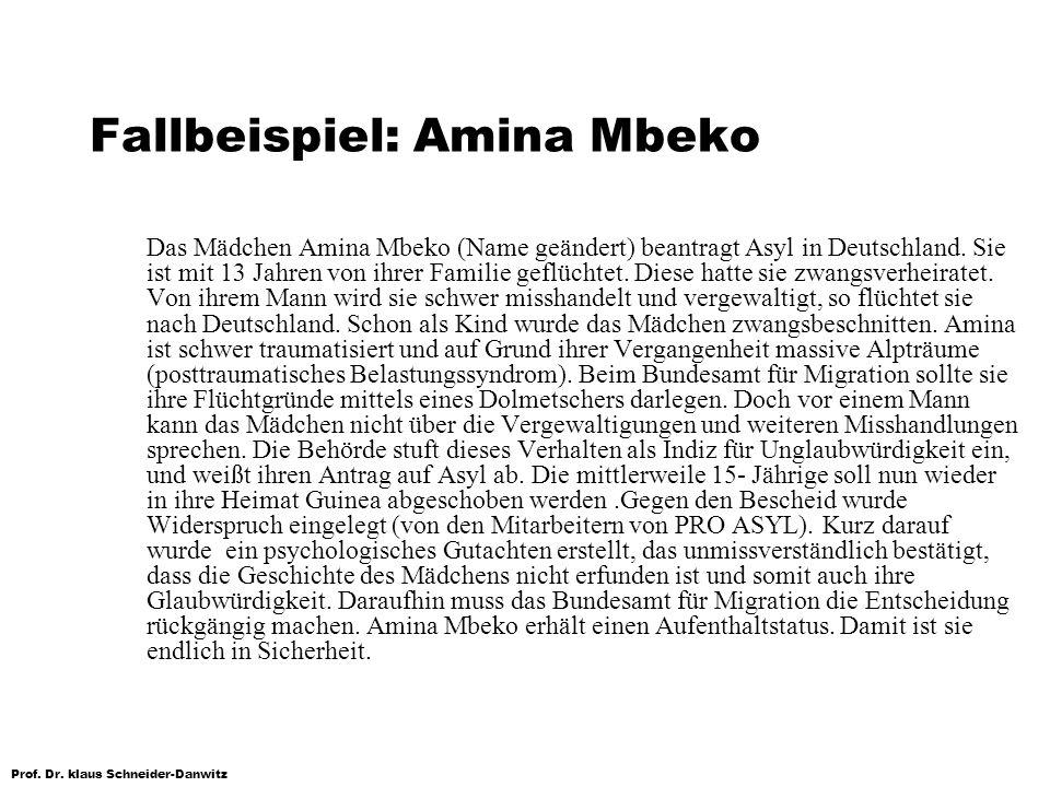 Prof. Dr. klaus Schneider-Danwitz Fallbeispiel: Amina Mbeko Das Mädchen Amina Mbeko (Name geändert) beantragt Asyl in Deutschland. Sie ist mit 13 Jahr