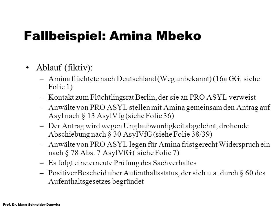 Prof. Dr. klaus Schneider-Danwitz Fallbeispiel: Amina Mbeko Ablauf (fiktiv): –Amina flüchtete nach Deutschland (Weg unbekannt) (16a GG, siehe Folie 1)
