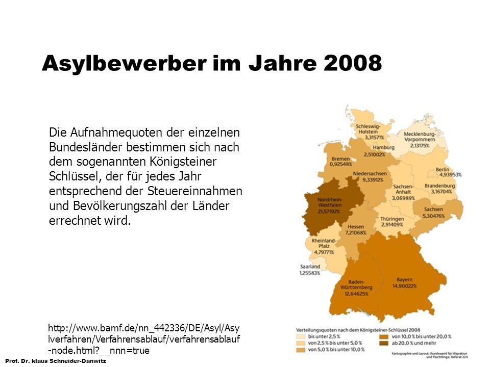 Prof. Dr. klaus Schneider-Danwitz Asylbewerber im Jahre 2008 Die Aufnahmequoten der einzelnen Bundesländer bestimmen sich nach dem sogenannten Königst