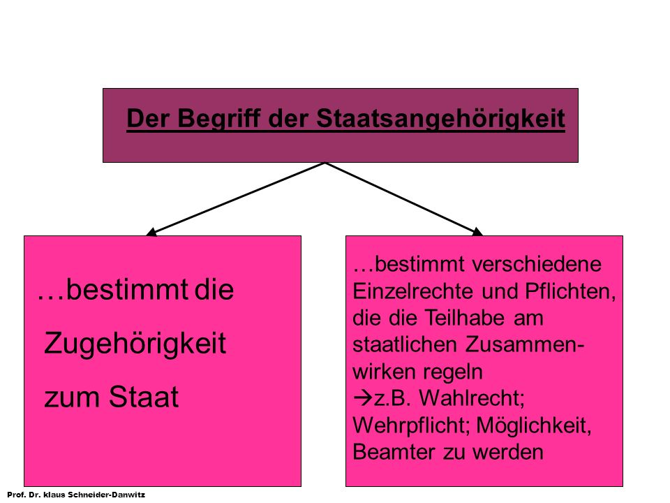 Prof. Dr. klaus Schneider-Danwitz Der Begriff der Staatsangehörigkeit …bestimmt die Zugehörigkeit zum Staat …bestimmt verschiedene Einzelrechte und Pf