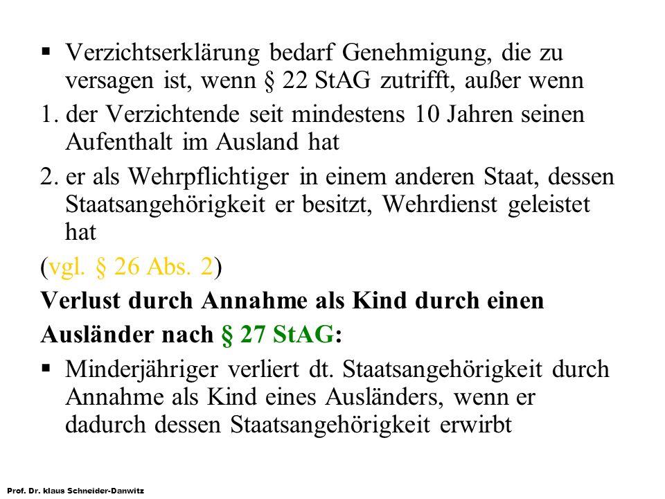 Prof. Dr. klaus Schneider-Danwitz Verzichtserklärung bedarf Genehmigung, die zu versagen ist, wenn § 22 StAG zutrifft, außer wenn 1. der Verzichtende