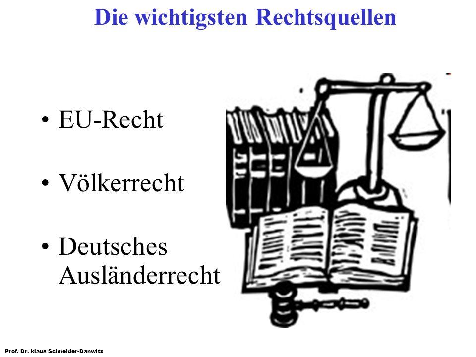 Prof. Dr. klaus Schneider-Danwitz Die wichtigsten Rechtsquellen EU-Recht Völkerrecht Deutsches Ausländerrecht