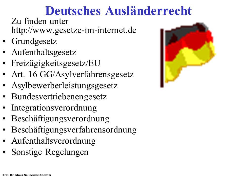 Prof. Dr. klaus Schneider-Danwitz Deutsches Ausländerrecht Zu finden unter http://www.gesetze-im-internet.de Grundgesetz Aufenthaltsgesetz Freizügigke