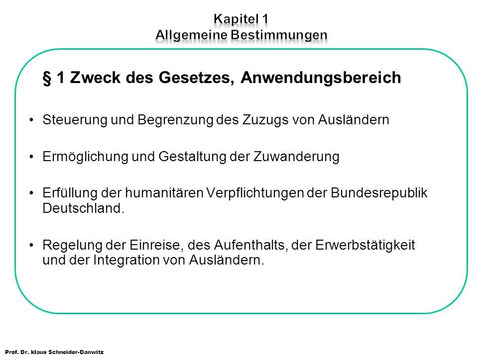 Prof. Dr. klaus Schneider-Danwitz § 1 Zweck des Gesetzes, Anwendungsbereich Steuerung und Begrenzung des Zuzugs von Ausländern Ermöglichung und Gestal