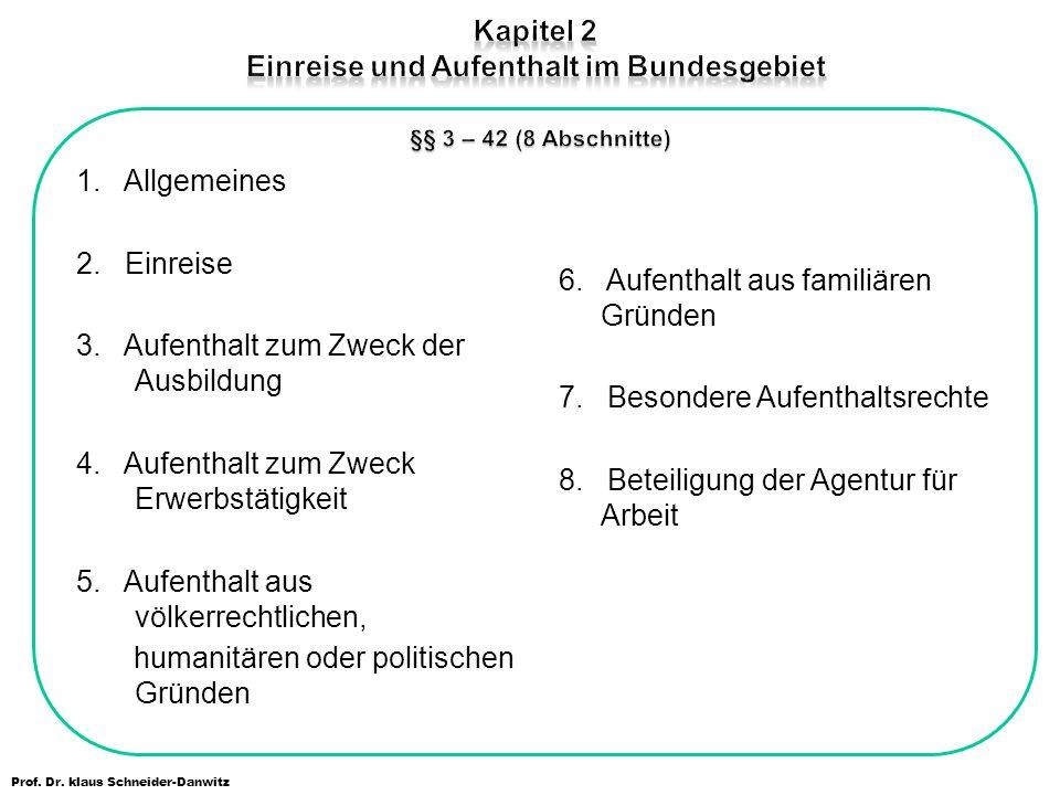 Prof. Dr. klaus Schneider-Danwitz 1. Allgemeines 2. Einreise 3. Aufenthalt zum Zweck der Ausbildung 4. Aufenthalt zum Zweck Erwerbstätigkeit 5. Aufent