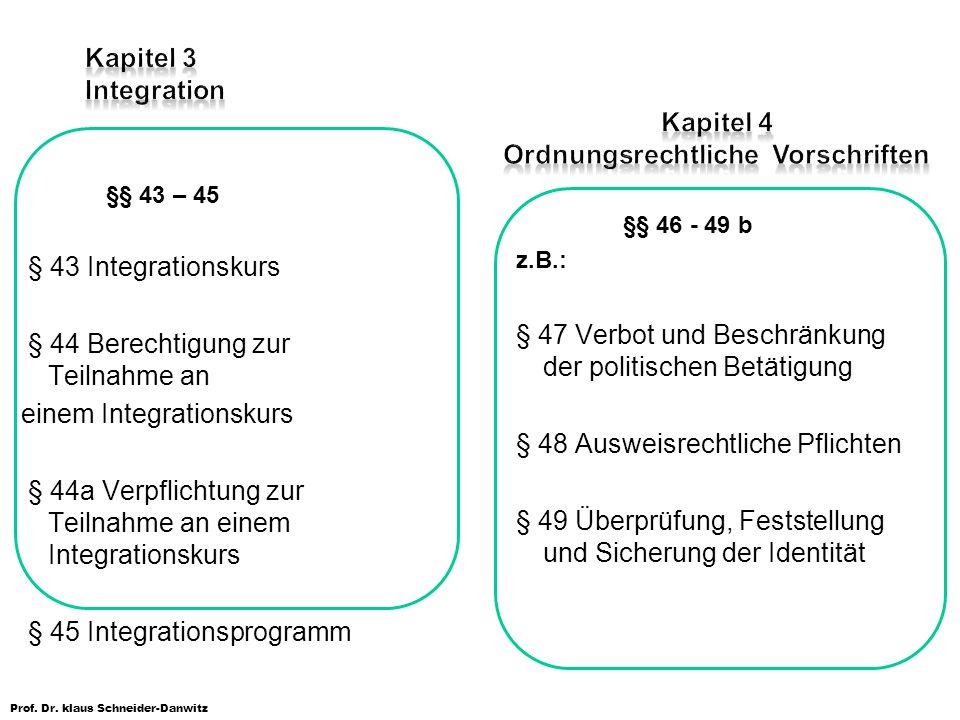 Prof. Dr. klaus Schneider-Danwitz §§ 43 – 45 § 43 Integrationskurs § 44 Berechtigung zur Teilnahme an einem Integrationskurs § 44a Verpflichtung zur T