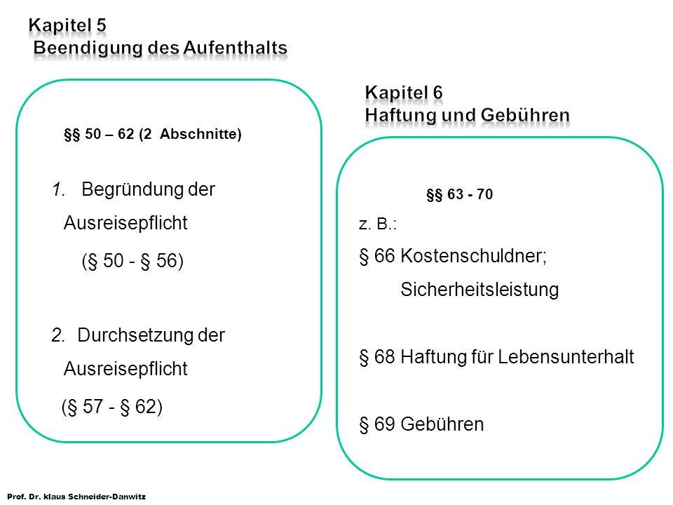 Prof. Dr. klaus Schneider-Danwitz §§ 50 – 62 (2 Abschnitte) 1. Begründung der Ausreisepflicht (§ 50 - § 56) 2. Durchsetzung der Ausreisepflicht (§ 57