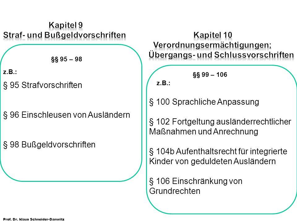 Prof. Dr. klaus Schneider-Danwitz §§ 95 – 98 z.B.: § 95 Strafvorschriften § 96 Einschleusen von Ausländern § 98 Bußgeldvorschriften §§ 99 – 106 z.B.: