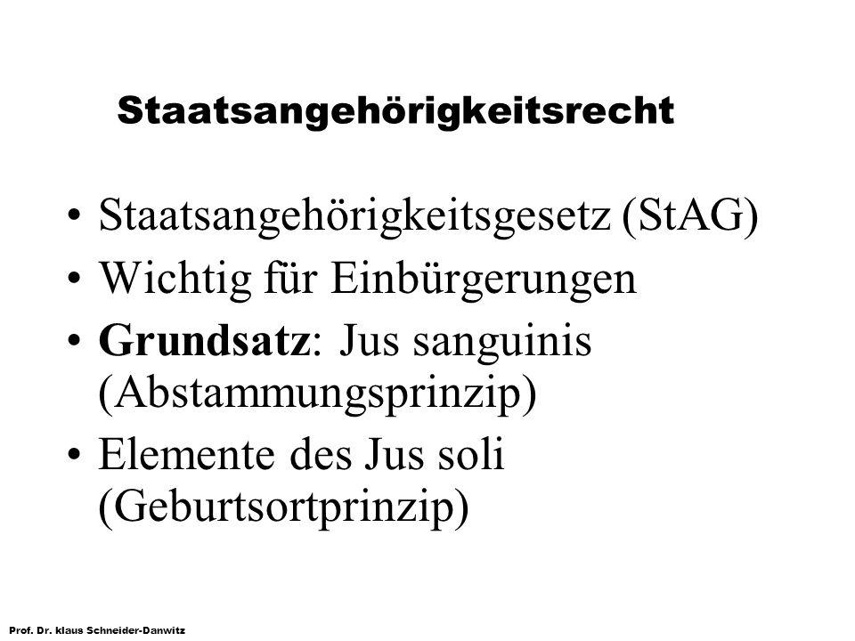 Prof. Dr. klaus Schneider-Danwitz Staatsangehörigkeitsrecht Staatsangehörigkeitsgesetz (StAG) Wichtig für Einbürgerungen Grundsatz: Jus sanguinis (Abs