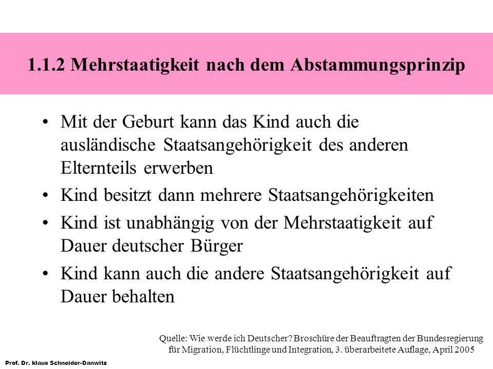 Prof. Dr. klaus Schneider-Danwitz 1.1.2 Mehrstaatigkeit nach dem Abstammungsprinzip Mit der Geburt kann das Kind auch die ausländische Staatsangehörig
