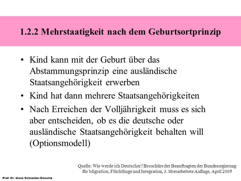 Prof. Dr. klaus Schneider-Danwitz 1.2.2 Mehrstaatigkeit nach dem Geburtsortprinzip Kind kann mit der Geburt über das Abstammungsprinzip eine ausländis