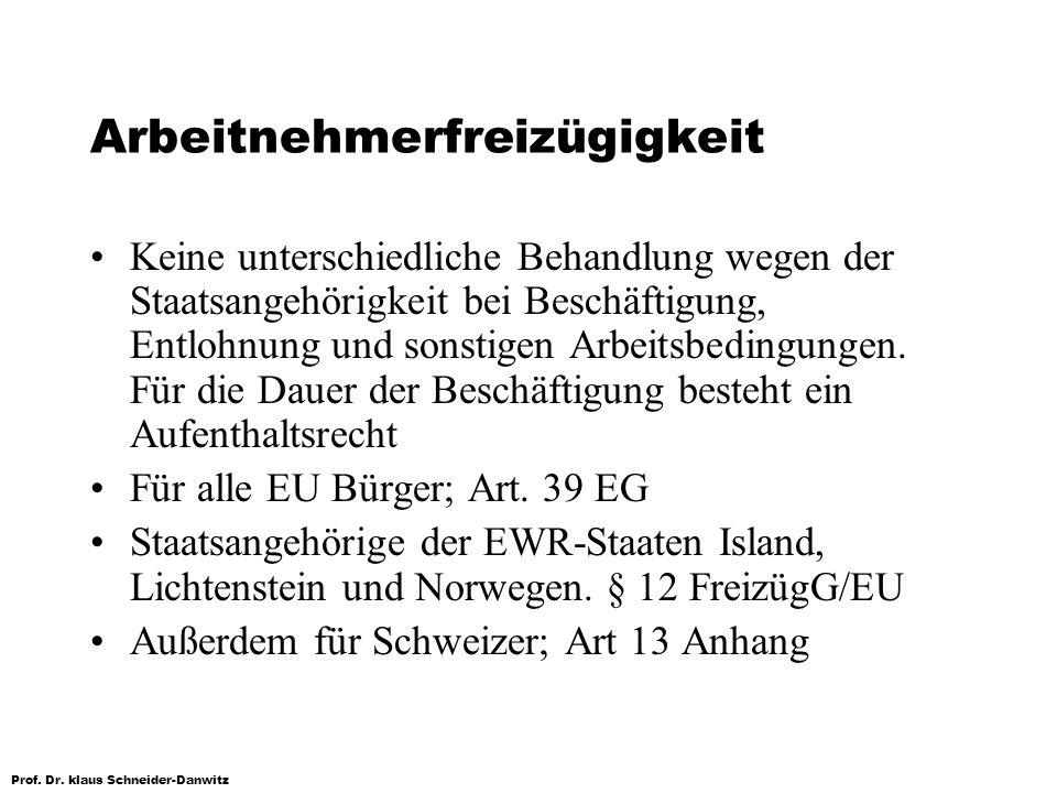 Prof. Dr. klaus Schneider-Danwitz Arbeitnehmerfreizügigkeit Keine unterschiedliche Behandlung wegen der Staatsangehörigkeit bei Beschäftigung, Entlohn