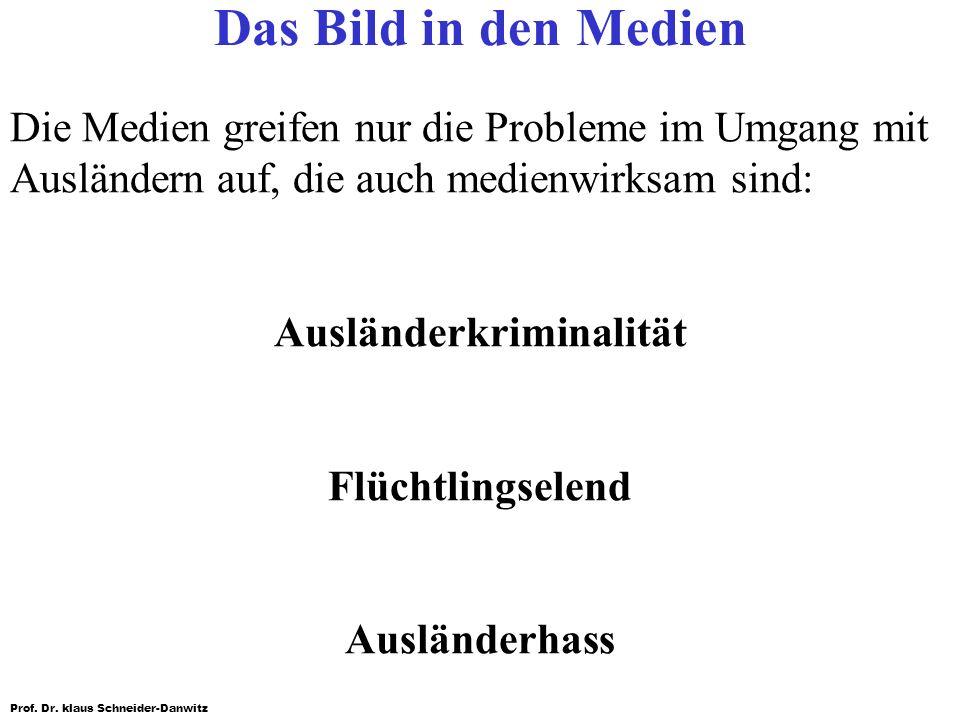 Prof. Dr. klaus Schneider-Danwitz Das Bild in den Medien Die Medien greifen nur die Probleme im Umgang mit Ausländern auf, die auch medienwirksam sind
