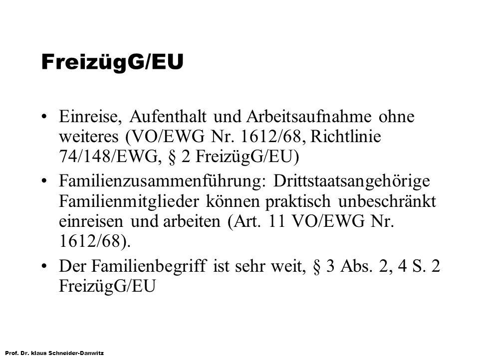 Prof. Dr. klaus Schneider-Danwitz FreizügG/EU Einreise, Aufenthalt und Arbeitsaufnahme ohne weiteres (VO/EWG Nr. 1612/68, Richtlinie 74/148/EWG, § 2 F