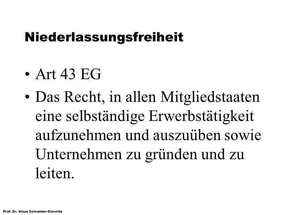 Prof. Dr. klaus Schneider-Danwitz Niederlassungsfreiheit Art 43 EG Das Recht, in allen Mitgliedstaaten eine selbständige Erwerbstätigkeit aufzunehmen