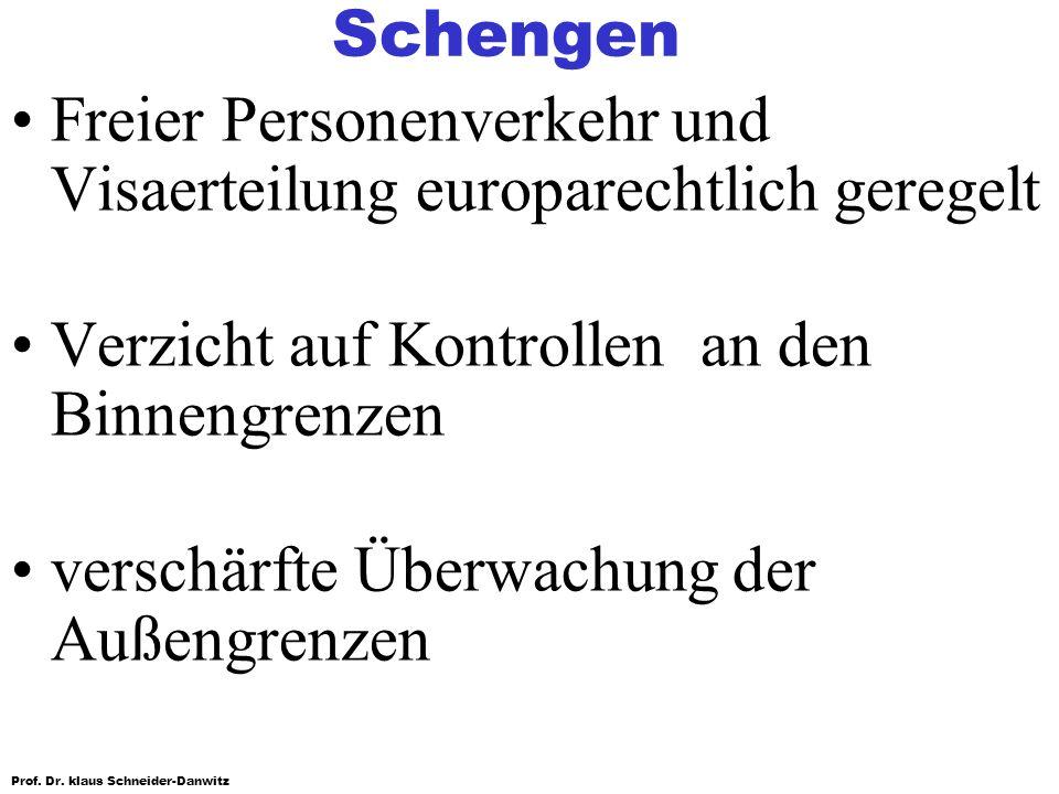 Prof. Dr. klaus Schneider-Danwitz Schengen Freier Personenverkehr und Visaerteilung europarechtlich geregelt Verzicht auf Kontrollen an den Binnengren