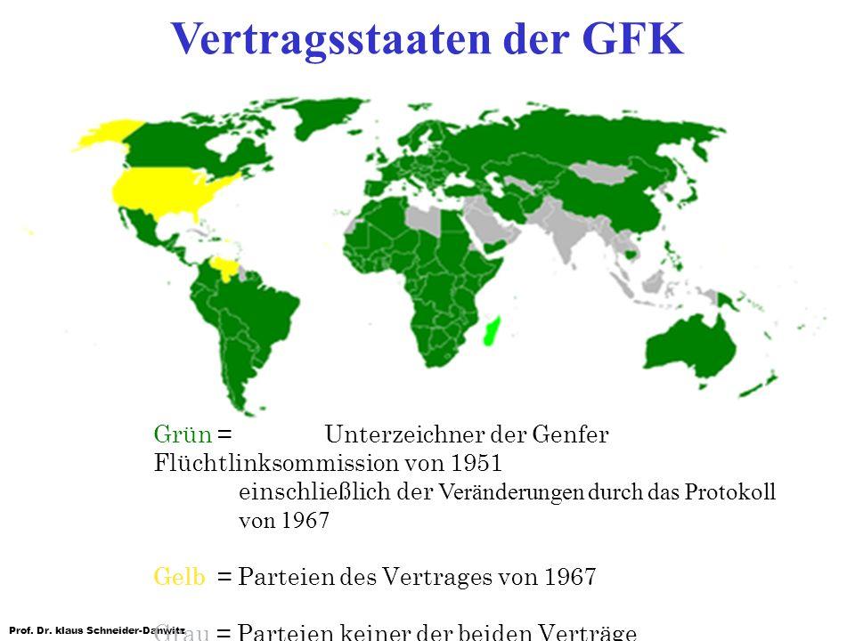 Prof. Dr. klaus Schneider-Danwitz Grün = Unterzeichner der Genfer Flüchtlinksommission von 1951 einschließlich der Veränderungen durch das Protokoll v