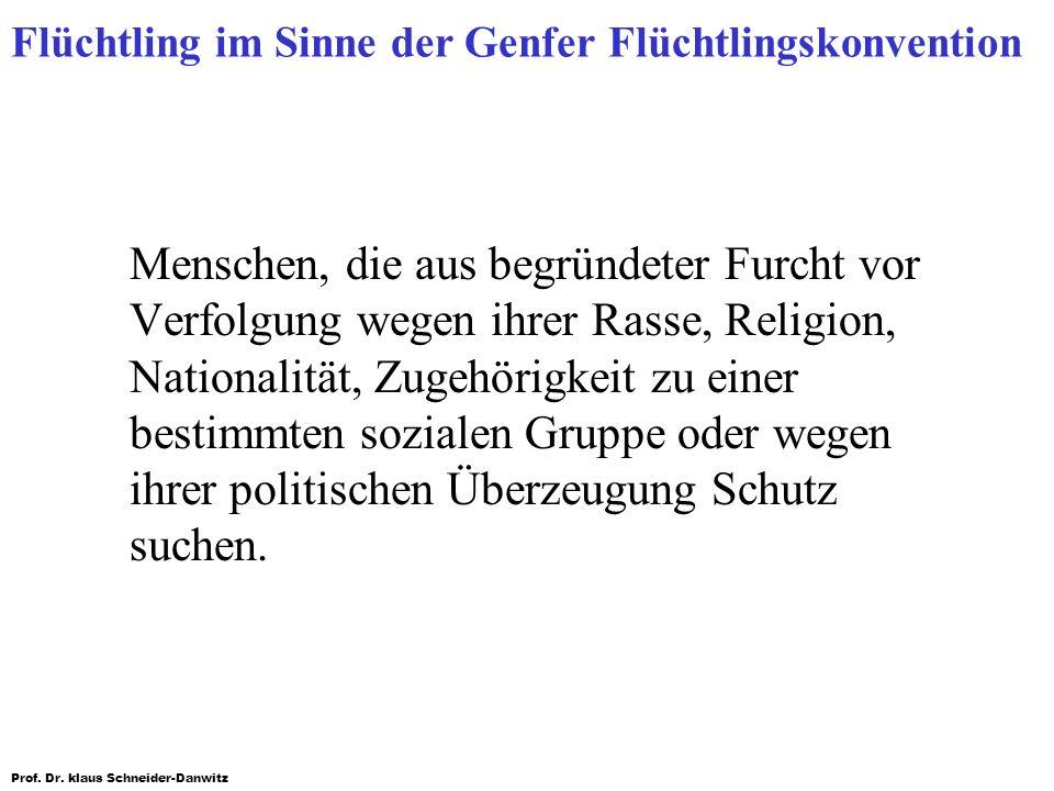 Prof. Dr. klaus Schneider-Danwitz Flüchtling im Sinne der Genfer Flüchtlingskonvention Menschen, die aus begründeter Furcht vor Verfolgung wegen ihrer