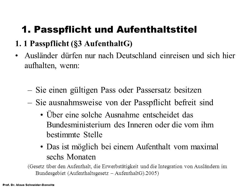 Prof. Dr. klaus Schneider-Danwitz 1. Passpflicht und Aufenthaltstitel 1. 1 Passpflicht (§3 AufenthaltG) Ausländer dürfen nur nach Deutschland einreise