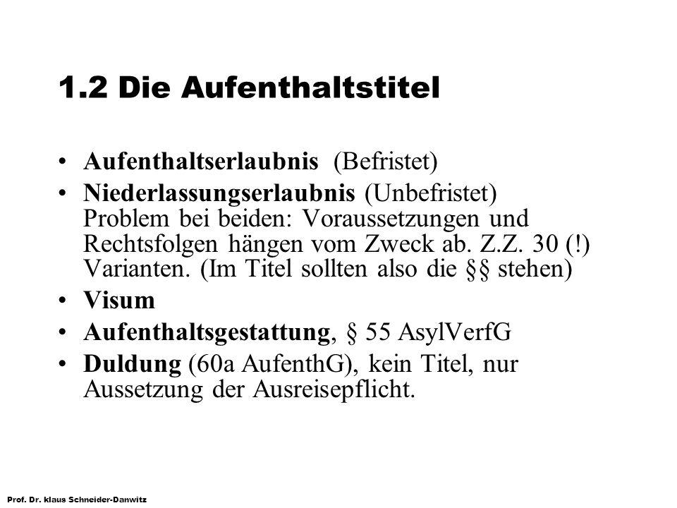 Prof. Dr. klaus Schneider-Danwitz 1.2 Die Aufenthaltstitel Aufenthaltserlaubnis (Befristet) Niederlassungserlaubnis (Unbefristet) Problem bei beiden: