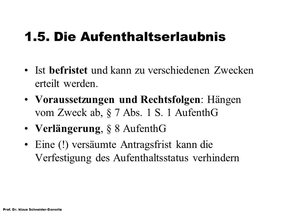 Prof. Dr. klaus Schneider-Danwitz 1.5. Die Aufenthaltserlaubnis Ist befristet und kann zu verschiedenen Zwecken erteilt werden. Voraussetzungen und Re