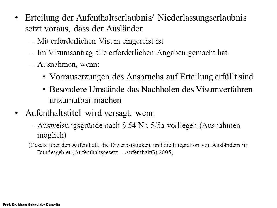 Prof. Dr. klaus Schneider-Danwitz Erteilung der Aufenthaltserlaubnis/ Niederlassungserlaubnis setzt voraus, dass der Ausländer –Mit erforderlichen Vis