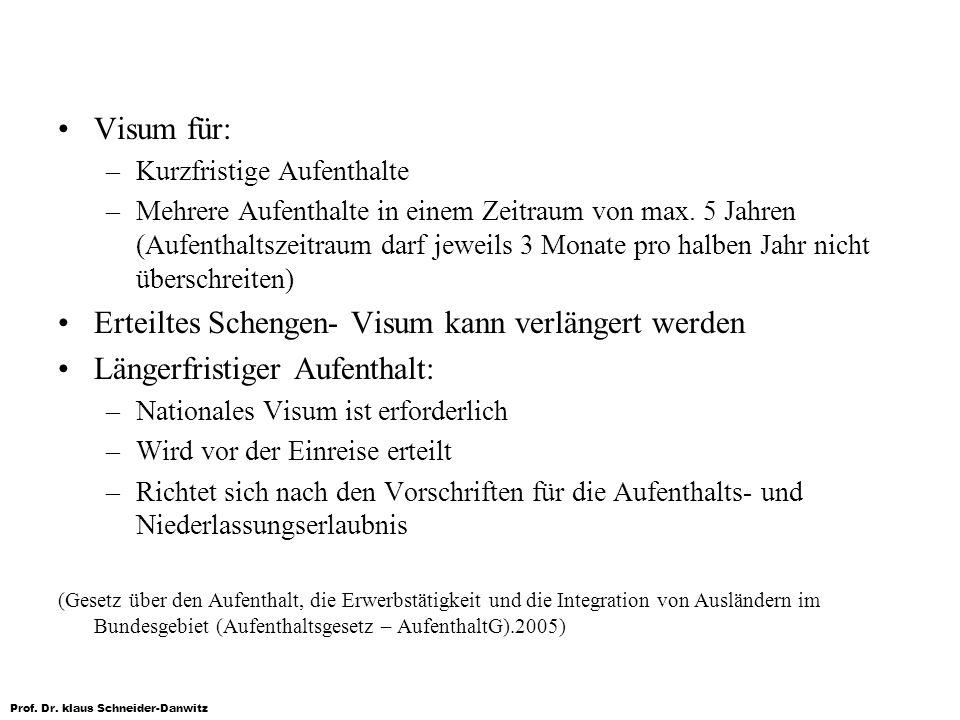 Prof. Dr. klaus Schneider-Danwitz Visum für: –Kurzfristige Aufenthalte –Mehrere Aufenthalte in einem Zeitraum von max. 5 Jahren (Aufenthaltszeitraum d