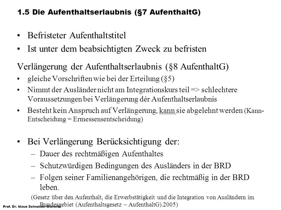 Prof. Dr. klaus Schneider-Danwitz 1.5 Die Aufenthaltserlaubnis (§7 AufenthaltG) Befristeter Aufenthaltstitel Ist unter dem beabsichtigten Zweck zu bef